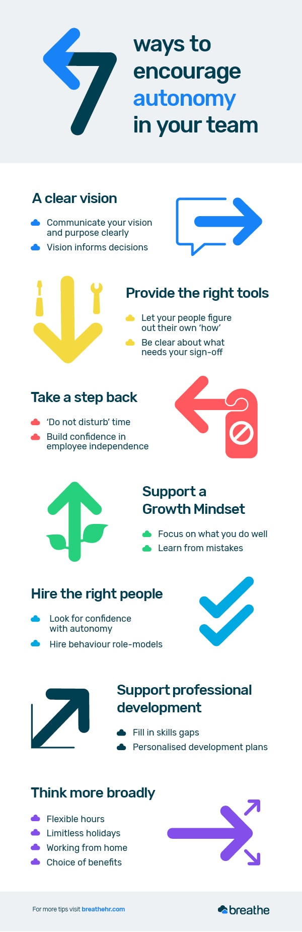 7 ways to encourage autonomy in your team infographic