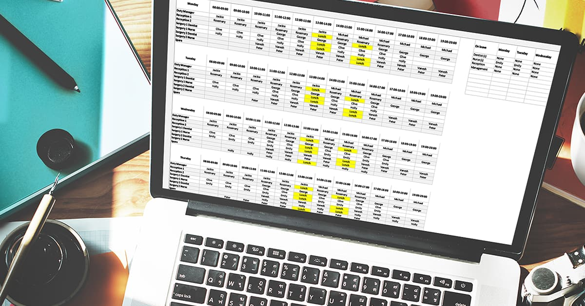 Planning a rota using a spreadsheet