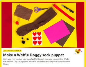 Waffle doggy sock puppet-min