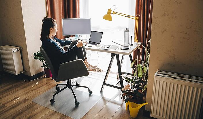 Woman working from home-min