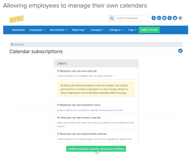 Calendar sync - employee manage calendar subscriptions
