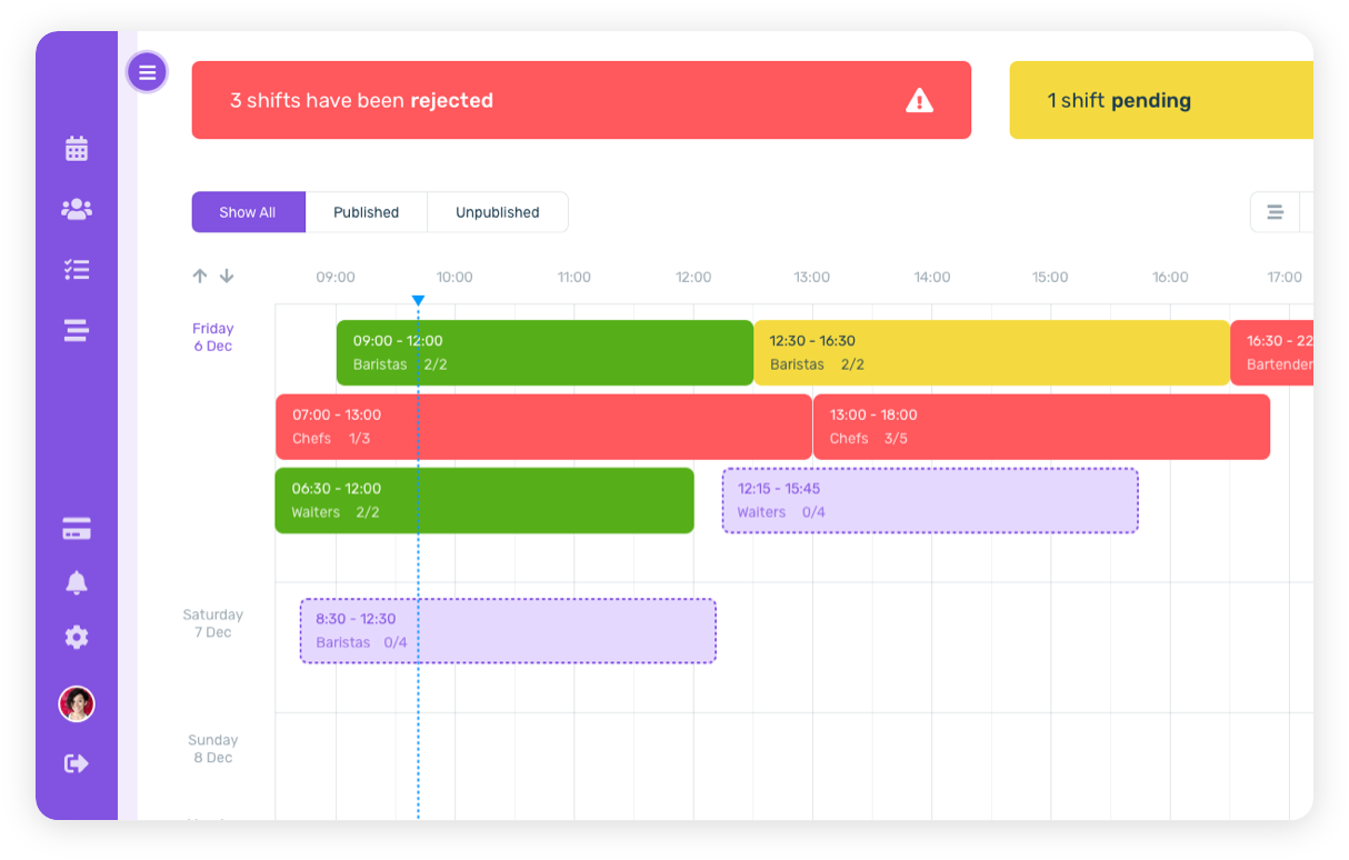 Breathe rota scheduling interface