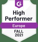 G2 badge - High Performer - Europe - Fall 2021
