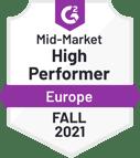 G2 badge - High Performer - Mid Market - Europe - Fall 2021