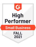 G2 badge - High Performer - Small Business - Fall 2021
