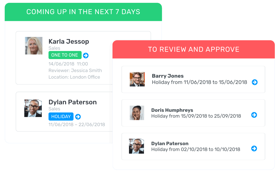 coming up meetings and reviews interface