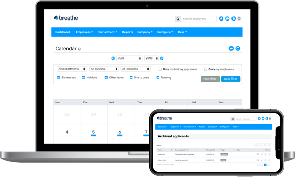 HR software interface on a laptop and mobile device | Breathehr.com