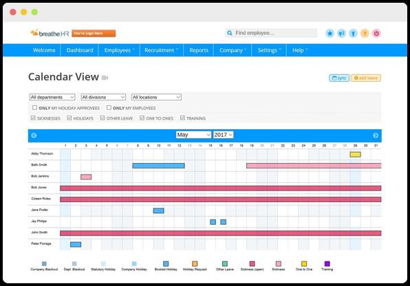 Screenshot of company leave calendar