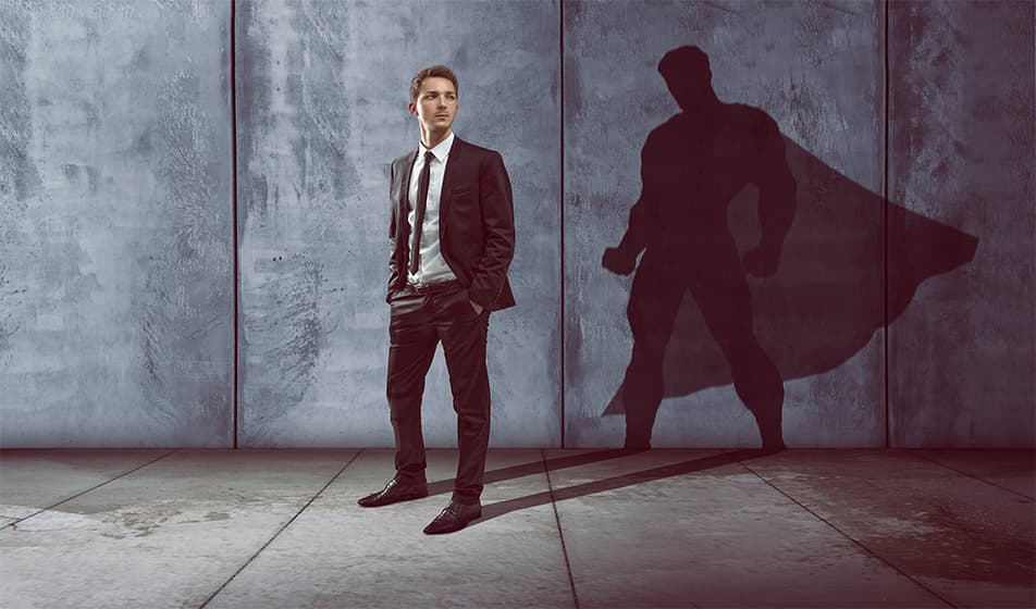 Man with a superhero shadow
