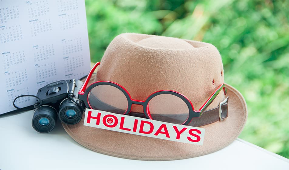 Summer hat with glasses and binoculars