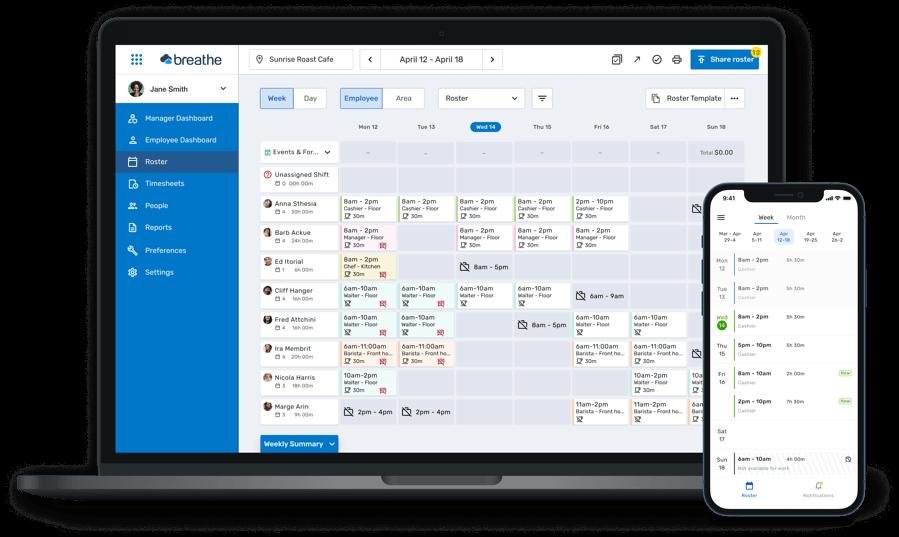 Breathe Rota desktop and mobile app