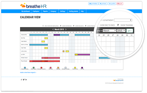 manage absence with the breatheHR calendar