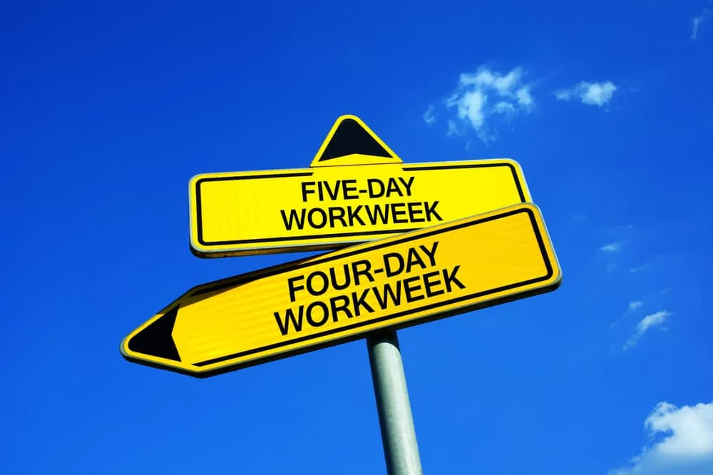Yellow four-day work week sign set against a blue sky