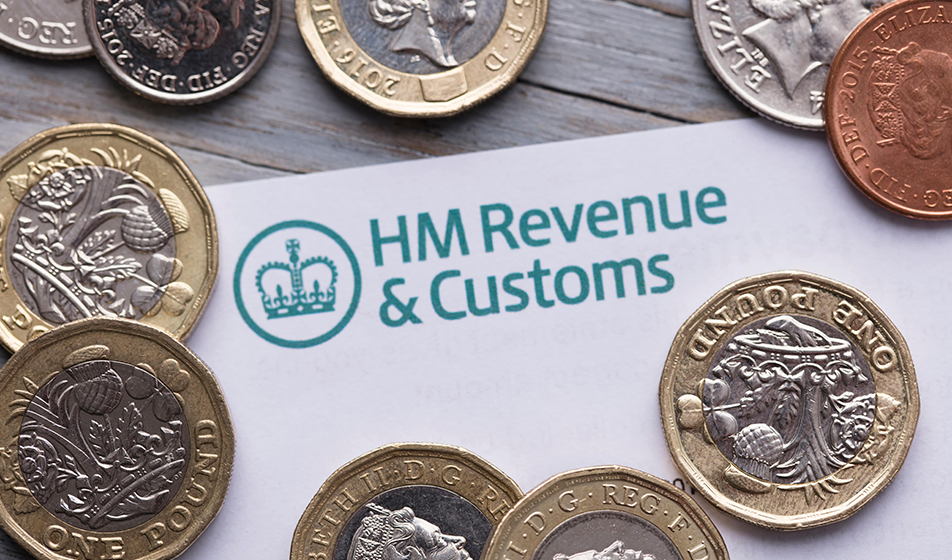 HMRC logo on letterhead surrounded by coins