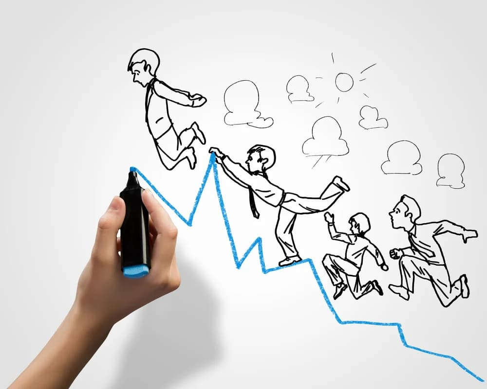 Hand drawing upwards graph with people thriving