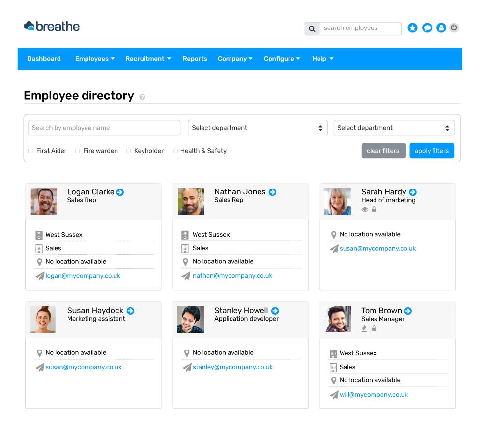 screenshot of employee directory