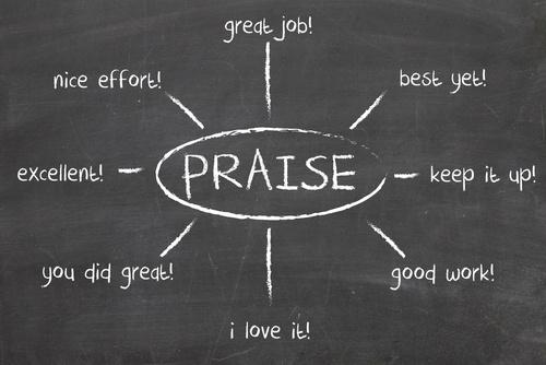 Praise brainstorm on a chalkboard