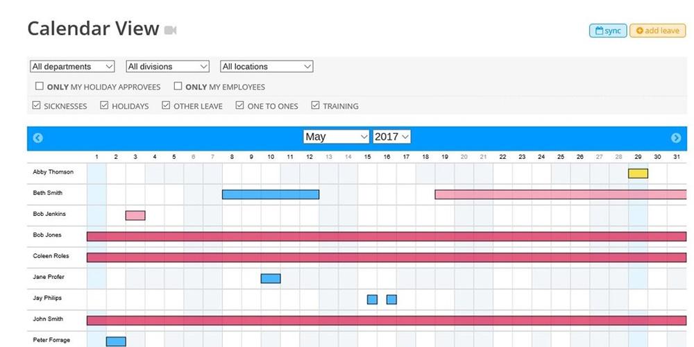 Central company calendar view