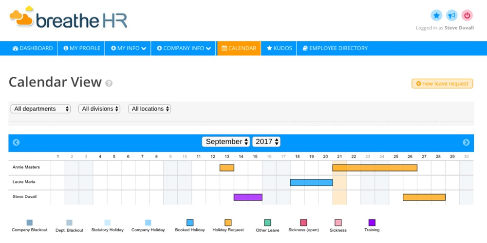Monthly calendar view showing holiday requests and booked leave