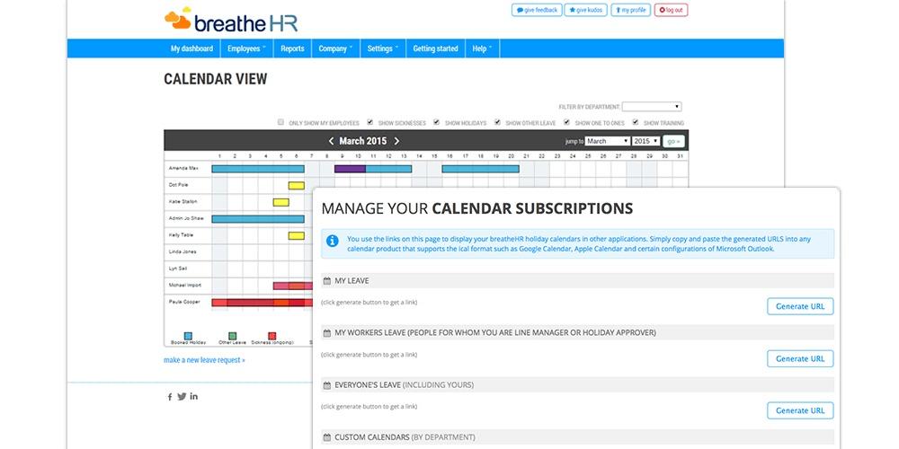 breathehr central calendar integrations using API