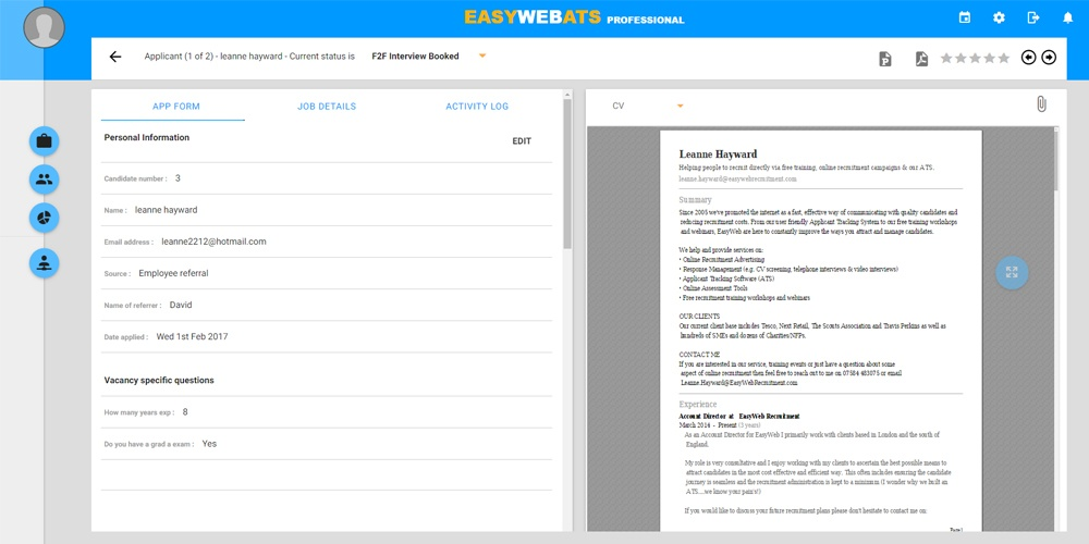 Integrations with EasyWeb applicant tracking system