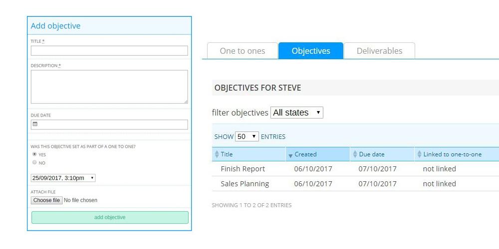 Adding employee objectives