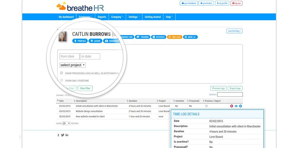 Time logs on employee profile